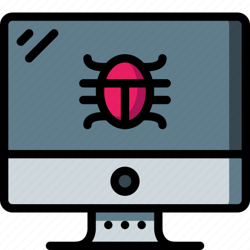 computer, equipment, monitor, office, screen, virus icon