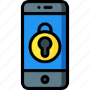 equipment, locked, mobile, office, phone, smart icon