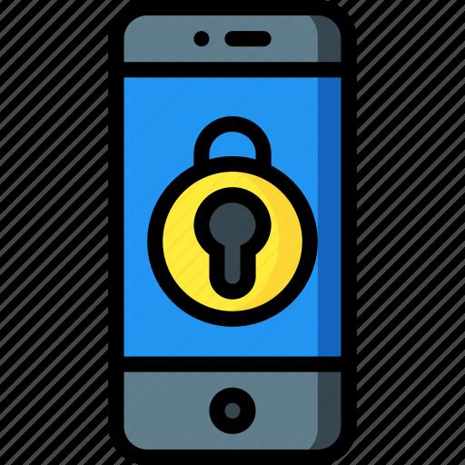 equipment, locked, mobile, office, phone, smart icon