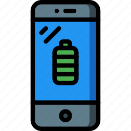 battery, equipment, mobile, office, phone, smart icon