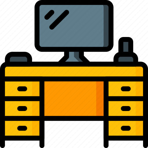 computer, desk, equipment, furniture, office icon