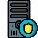 computer, equipment, office, protected, server, tower icon