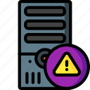 alert, computer, equipment, office, server, tower icon