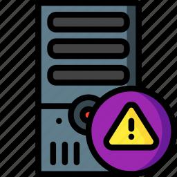 alert, computer, equipment, office, server, tower icon