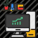 computer, desktop, office, pc, workspace, business, chart