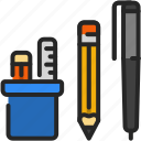 stationary, pen, pencil, ruler, office, tools
