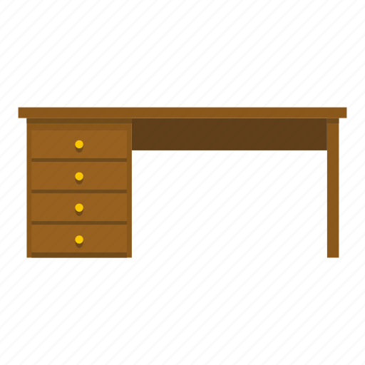 cabinet, desk, furniture, interior, office, table, wood icon