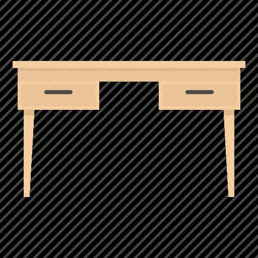 desk, empty, furniture, interior, table, wood, wooden icon