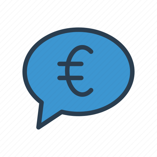 bubble, chat, currency, euro, message icon