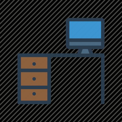desk, furniture, interior, table, tv icon