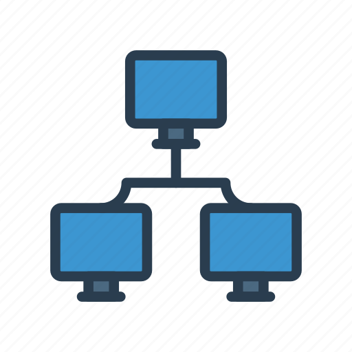 computer, connection, network, office, share icon