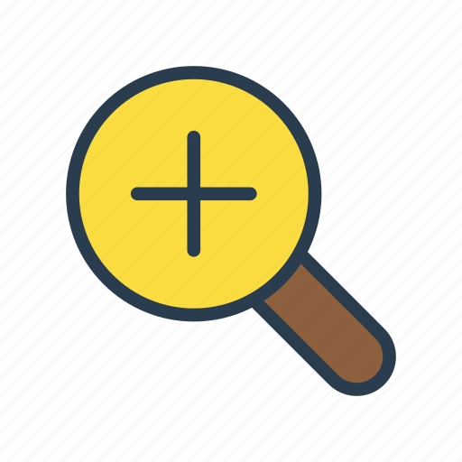 find, glass, magnifier, search, zoomin icon
