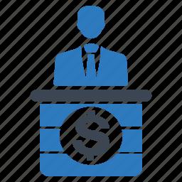banker, check-in, desk, info, information, receptionist icon