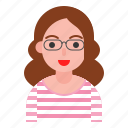 female, glasses, stripe, user, woman icon