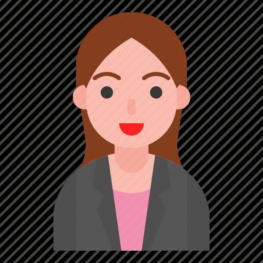 avatar, female, girl, office, suit, uniform, woman icon