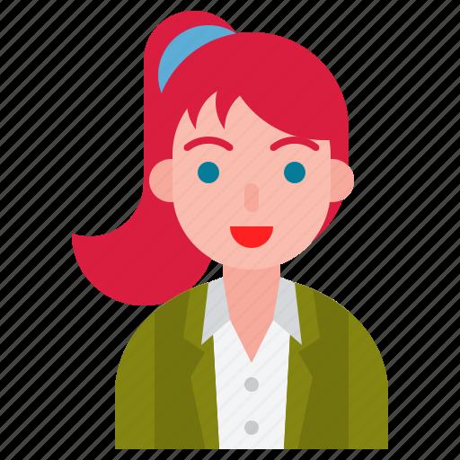 avatar, female, pony tail, user icon