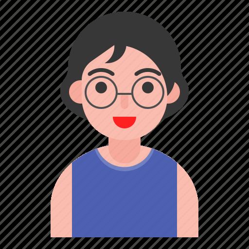 avatar, female, girl, glasses, short hair icon