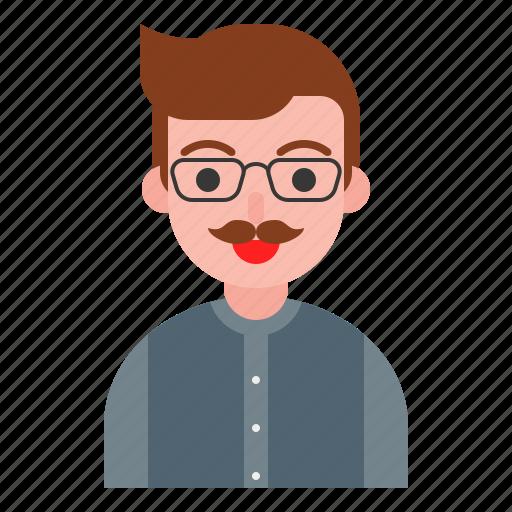 glasses, male, profile, uncle, user icon