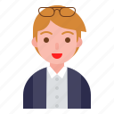 avatar, boy, glasses, male, office, profile icon