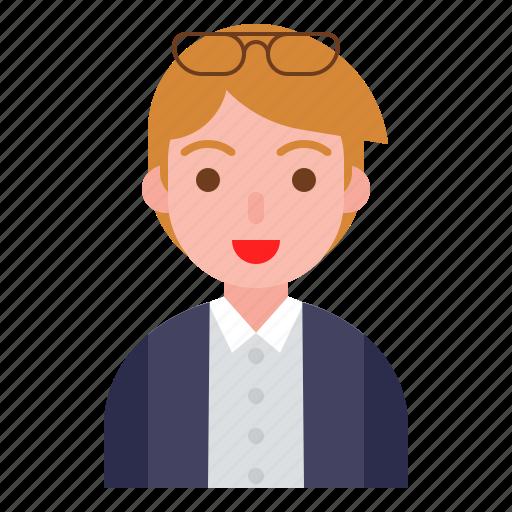 avatar, boy, glasses, male, office, profile icon