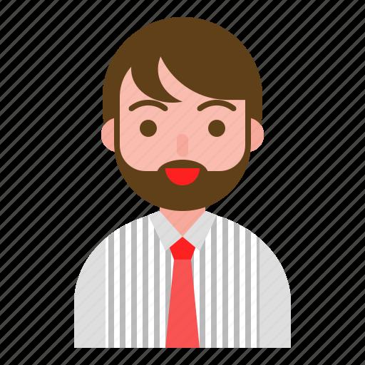 avatar, beard, business, male, work icon