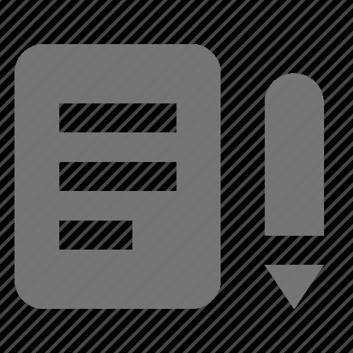 note, paper, pen, pencil, supplies icon