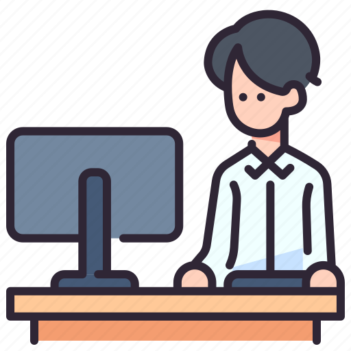 business, businessman, computer, office, people, work, working icon