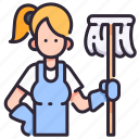 clean, cleaner, household, housework, people, service, woman icon