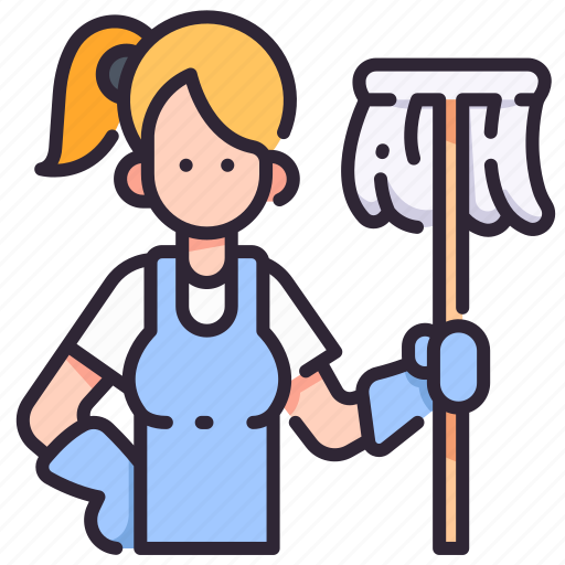 Clean, cleaner, household, housework, people, service, woman icon - Download on Iconfinder