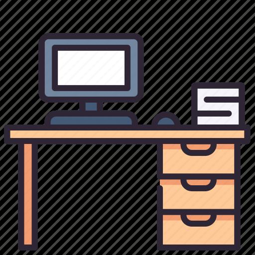 computer, desk, desktop, office, table, work, workspace icon