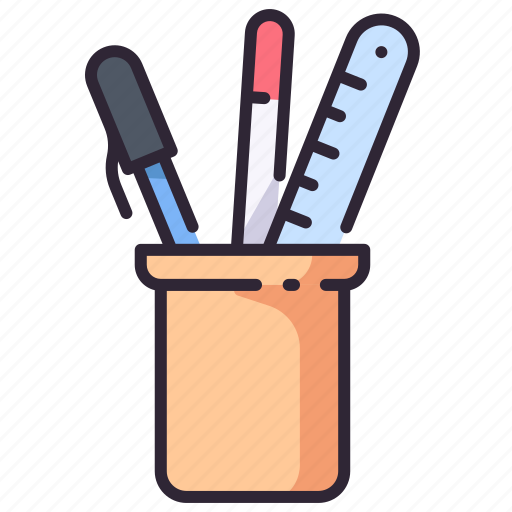 equipment, office, pen, ruler, stationery, tools icon