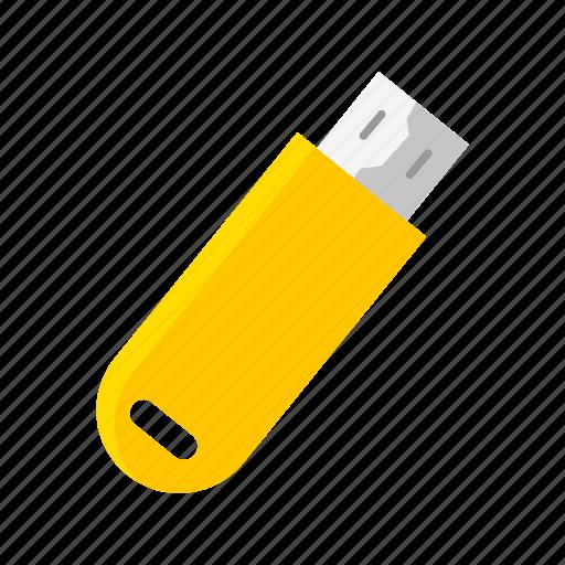 file storage, flash drive, usb, yellow flash drive icon