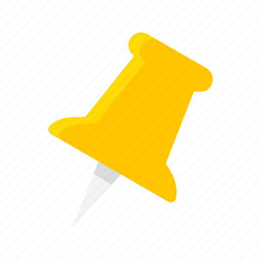 documents, paper pin, pin, yellow tack icon