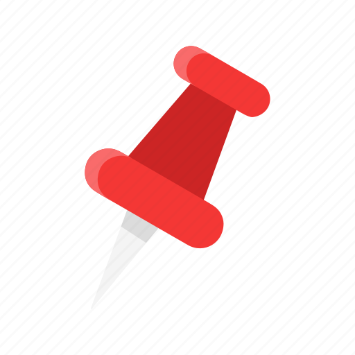 documents, paper pin, pin, red tack icon