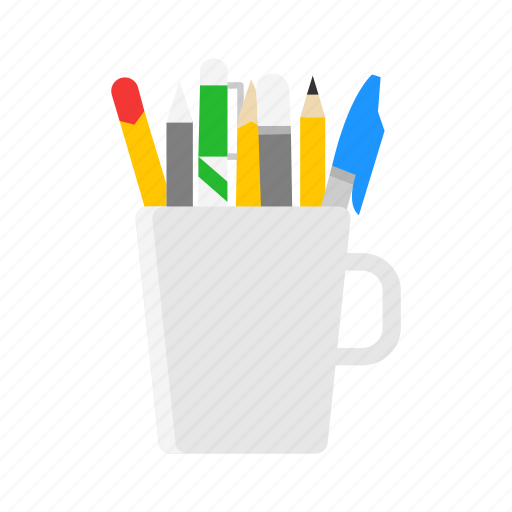 marker, mug of pens, pen, pencil icon