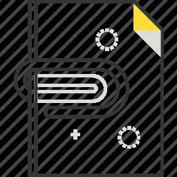 attach, attachment, clip, document, file, paper icon