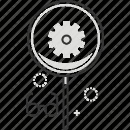 cog wheel, gear, glasses, magnifier icon