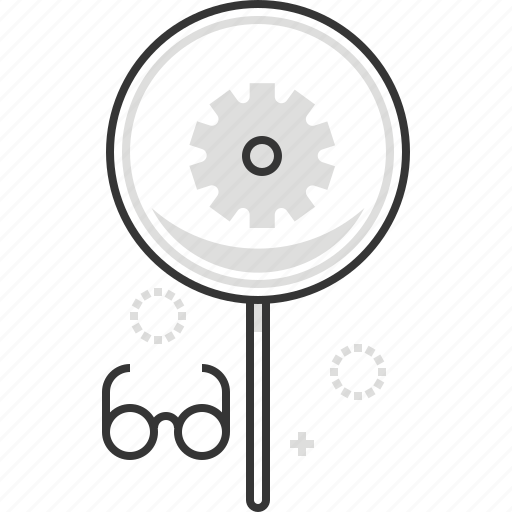 cog wheel, gear, glasses, magnifier icon