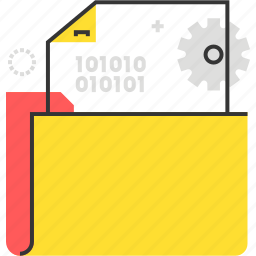 data, document, file, folder, gear icon