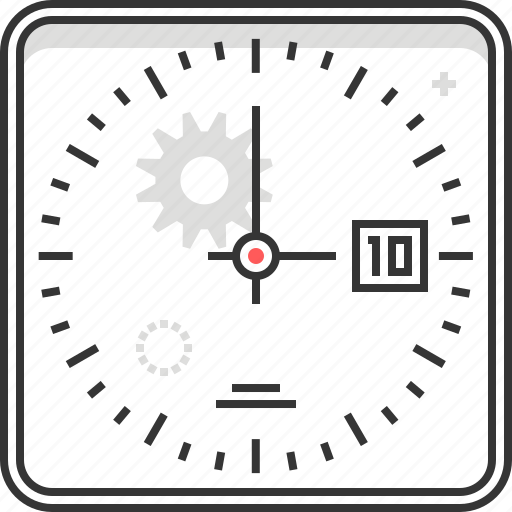 clock, gear, hour, minute, office, time, tool icon