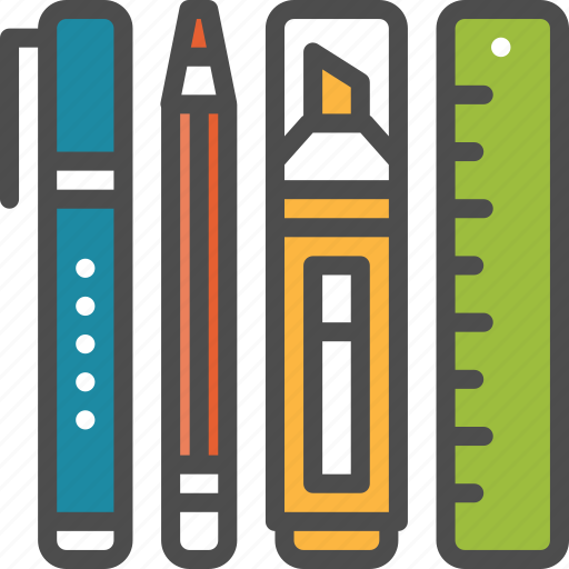 office, pen, pencil, ruler, stationery, tool icon