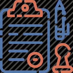 clipboard, document, file, list, pen, report icon