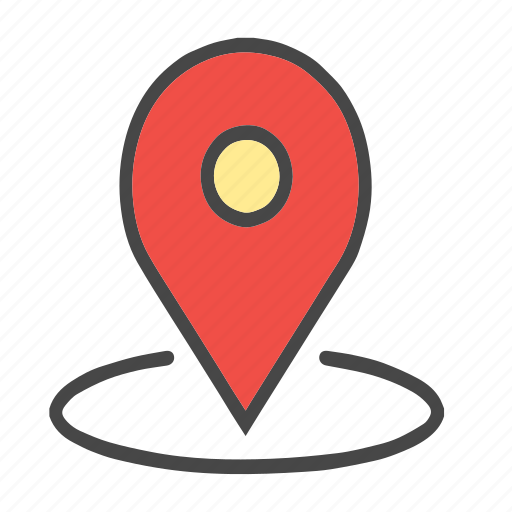 around location, arrow, check location, current location, direction, down, location, map pin, pin icon