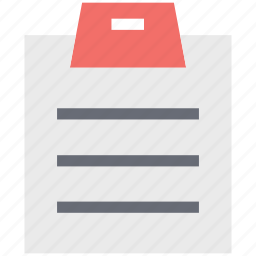 clipboard, document, file, notepad, paper, paper clipper board icon