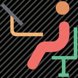 chair, desk chair, exam chair, office chair, student chair, student in classroom, swivel, swivel chair icon