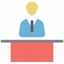 classroom table, lecture, school table, study table, table, teacher with table icon