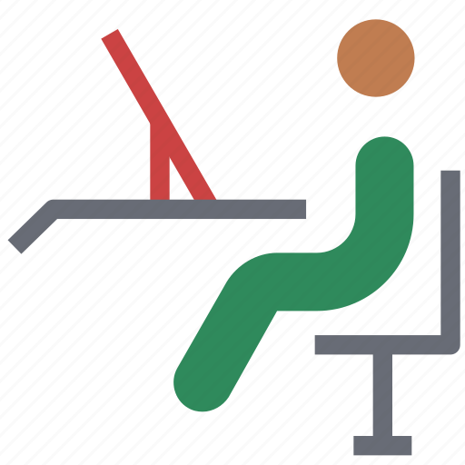 chair, desk chair, exam chair, office chair, student chair, swivel, swivel chair icon