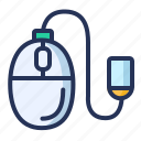 computer, device, mouse, wire icon