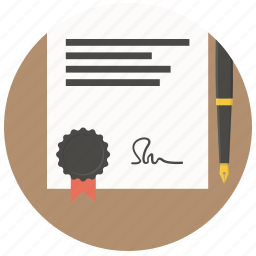 agreement, business, contract, document, paper, pen, signature icon