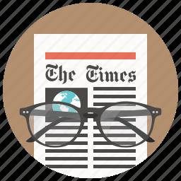glasses, media, news, newsletter, newspaper, press, print icon